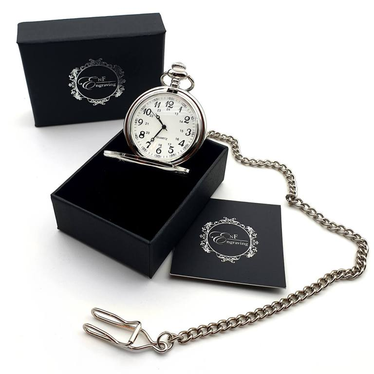 Silver Pocket Watch with EnF Engraving Gift Box