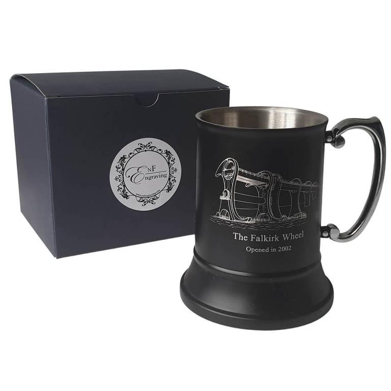 Persnalised Black tankard with EnF Engraving Gift Box