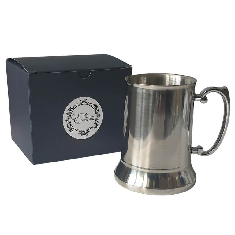 Personalised Steel TAnkard with EnF Engraving Gift Box