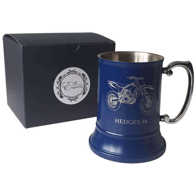 Personalised Blue Tankard with EnF Engraving Gift Box