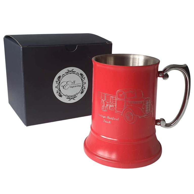 Personalised Red Tankard with EnF Engraving Gift Box