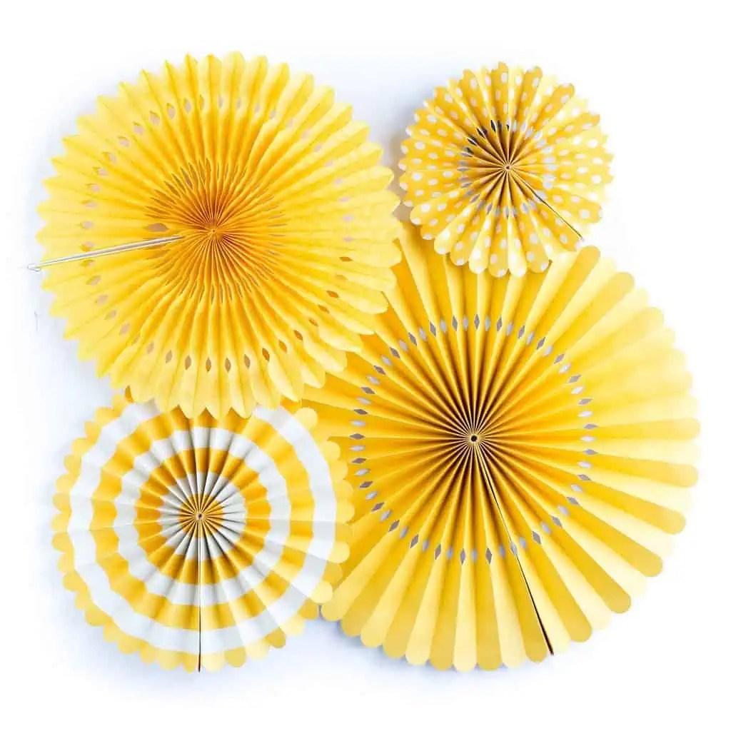 Lemon Party Yellow Backdrop Fans