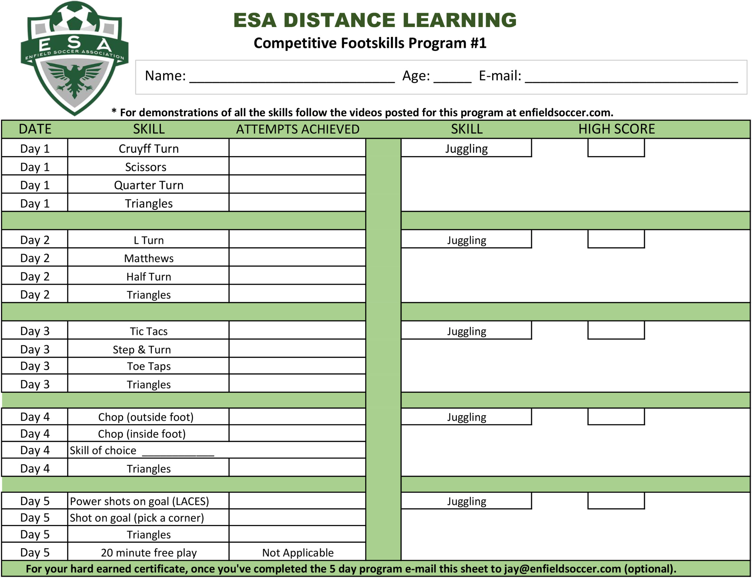 Distance Learning Enfield Soccer Association