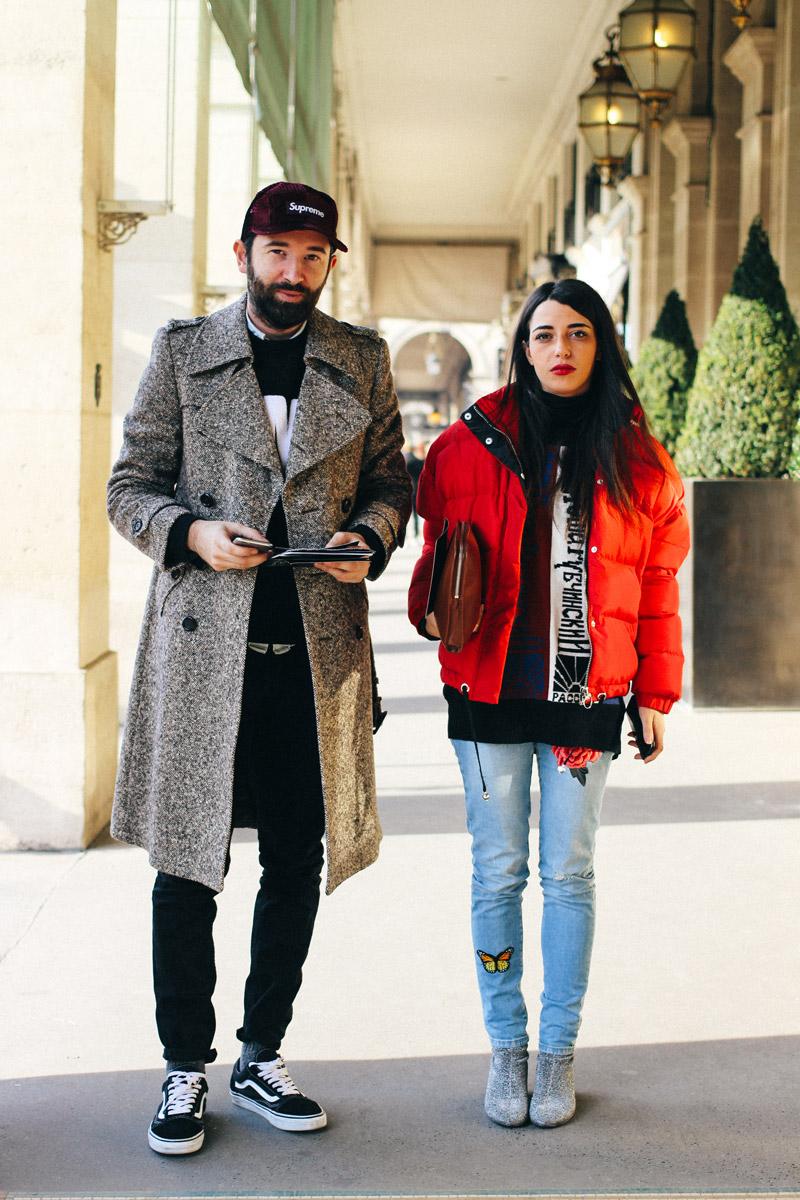 Before the Rynshy show at rue Rivoli - Favorite street looks from Paris Men's Fashion Week ( January, 2017 )