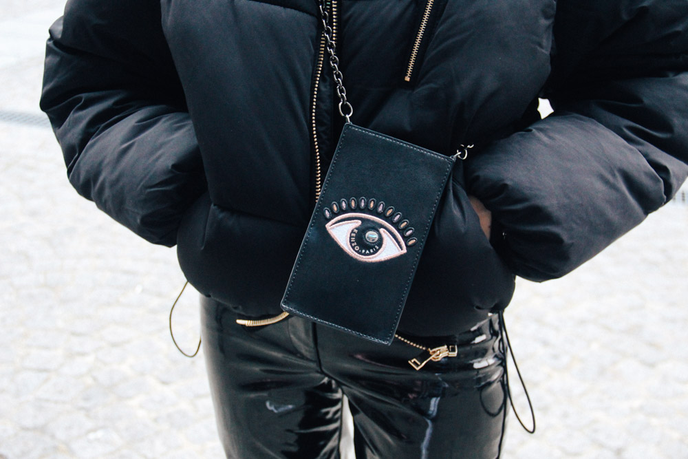 LOOK XIX: Place Vendome before the Vetements show - Street Style PFW 2017 - Pouch by Kenzo