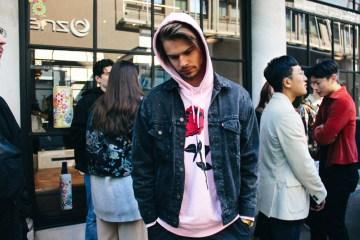 LOOK XXXV: Bart de Roos wearing bubblegum pink hoodie