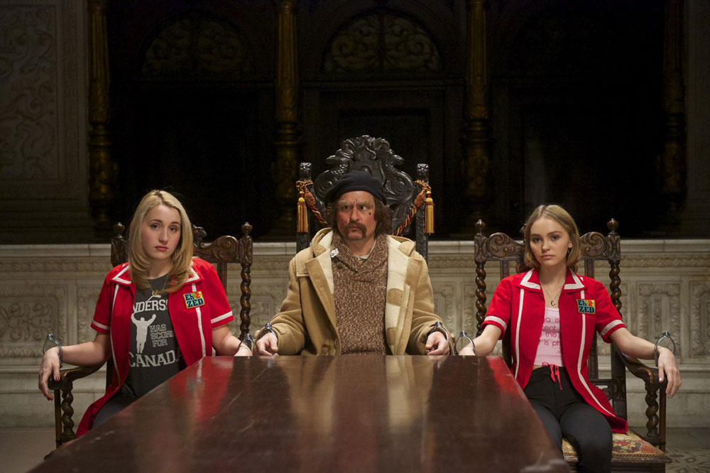 Lily-Rose Depp, Harley Quinn Smith and Johnny Depp in Yoga Hosers