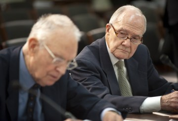 Former Rep. Lee Hamilton, (D-IN), and retired Air Force Lt. Gen. Brent Scowcroft, co-chairmen of the Blue Ribbon Commission on America's Nuclear Future look over their notes prior to testifying before the House Energy and Commerce Committee on Capitol Hill February 1, 2012 in Washington, DC. The subcommittee heard the recommendations of the Blue Ribbon Commission on America's Nuclear Future on how to create safe, long-term solutions for managing and disposing of the nation's spent nuclear fuel and high-level radioactive waste.