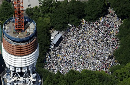 Over 60,000 demonstrators gather at a protest against the nuclear industry at Shiba Park in Tokyo, Japan.