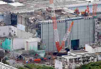 An aerial view shows No.3 reactor building at tsunami-crippled Fukushima Daiichi nuclear power plant in Fukushima