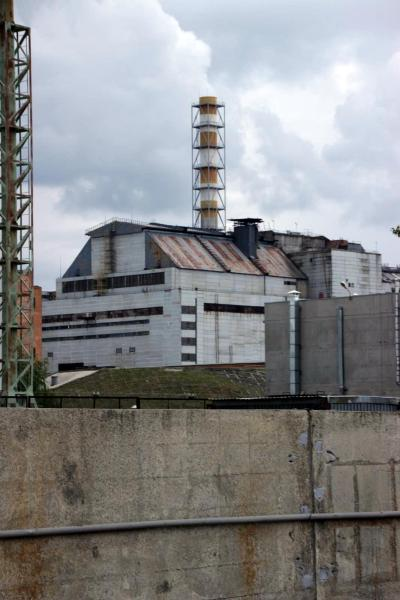 A view of the Unit 4 reactor building from the Chernobyl nuclear power plant Fire Department.