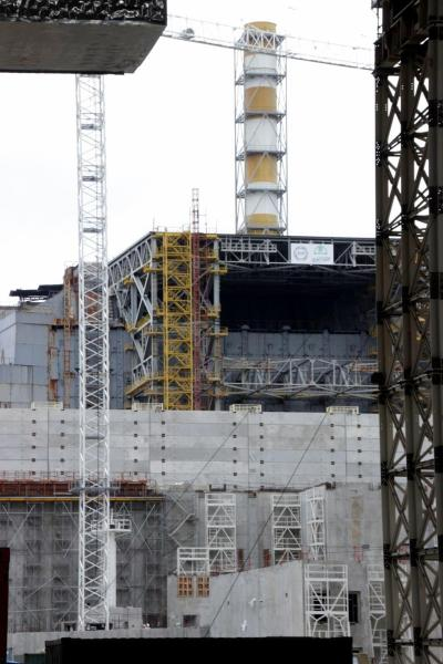 Looking east out of the new containment structure we got our first glimpse of the Unit 4 reactor.