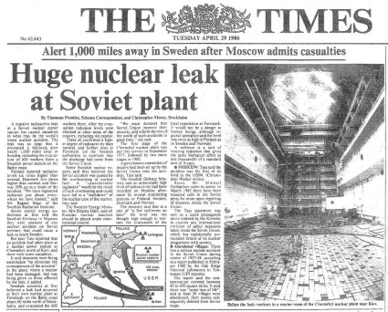 """Article that ran in The Times newspaper on April 29th, 1986, describing the accident at the """"Chernobyl nuclear power plant""""."""