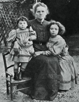 Portrait of Marie Curie, and her two daughters, Eve and Irene, 1908. Irene experimented with radioactive materials like her parents and died at 58. Eva was a writer and pianist and died at 102.