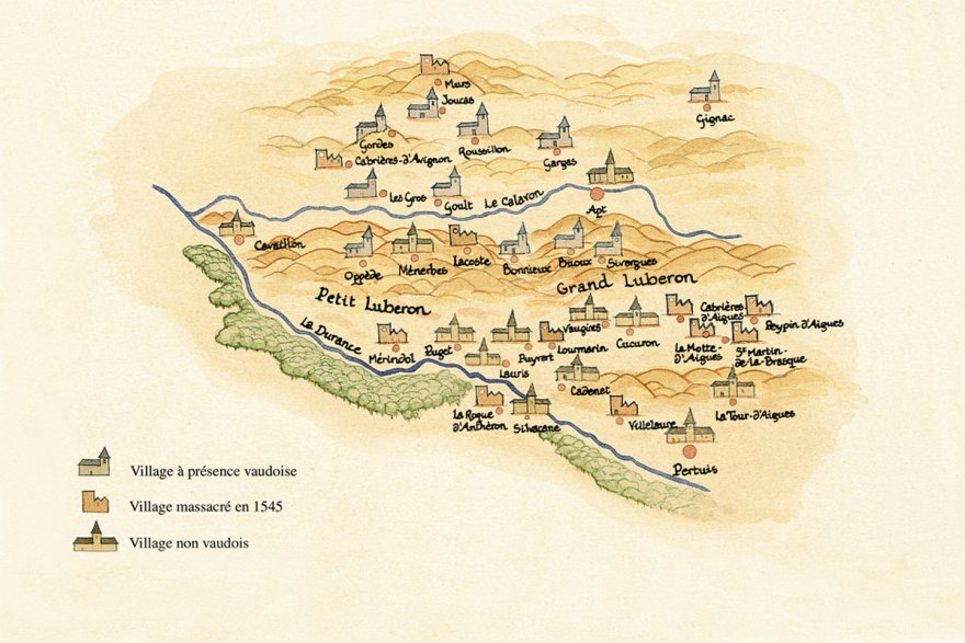 [Les villages vaudois du Luberon Dessin JM Kacedan – Gallimard]