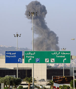 Israel hits Beirut airport again, keeps up assault
