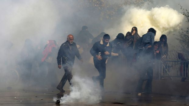 Turkish police fire water cannon to break up protest