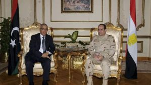 Egypt's Army Chief Field Marshal Abdel-Fattah El-Sisi, right, meets with Libya's Prime Minister Ali Zeidan at the Ministry of Defense headquarters in Cairo in this February 1, 2014 picture provided by Egypt's Ministry of Defense. (Reuters/Egypt's Ministry of Defense/Handout via Reuters)