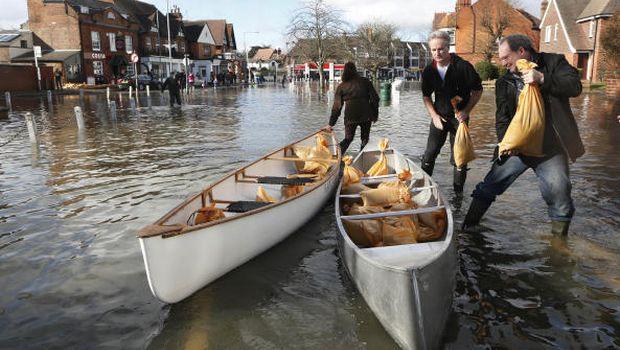 River Thames breaches its banks near London