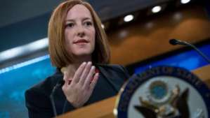 US State Department spokeswoman Jen Psaki speaks at the daily briefing at the State Department in Washington,dc on March 10, 2014.AFP PHOTO/Nicholas KAMM