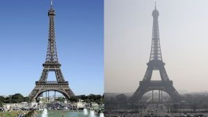"This combination of 2 pictures shows the Eiffel tower in central Paris through a haze of pollution (R) taken on March 14, 2014 and during clear weather (L) on August 17, 2012. More than 30 departments in France are hit by maximum level pollution alerts since the day before, prompting Ecology Minister to say air quality was ""an emergency and a priority for the government."" AFP PHOTO / BERTRAND GUAY / KENZO TRIBOUILLARD"