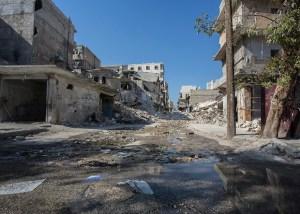 A bombed-out street in Aleppo. (Asharq Al-Awsat/Hannah Lucinda Smith)