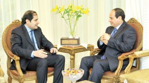 Egyptian presidential candidate Abdel-Fattah El-Sisi speaks to Asharq Al-Awsat Editor-in-Chief Dr. Adel Al Toraifi in Cairo on May 23, 2014. (Asharq Al-Awsat)