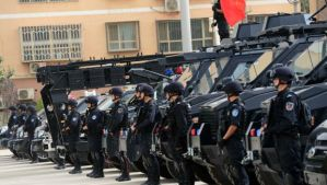"This picture taken on June 6, 2014, shows security forces participating in a military drill in Hetian, northwest China's Xinjiang region. China vowed a year-long campaign against terrorism after attackers in Xinjiang killed 39 people in a suicide raid. The statement said the campaign would last until June 2015 and is aimed at ""preventing the spread of religious extremism"" from Xinjiang to the country's interior. (AFP Photo)"
