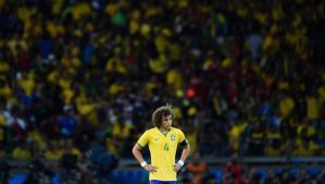 David Luiz of Brazil shows his disappointment after Germany's sixth goal during the 2014 FIFA World Cup Brazil semifinal match on July 8, 2014 in Belo Horizonte, Brazil. (Laurence Griffiths/Getty Images)