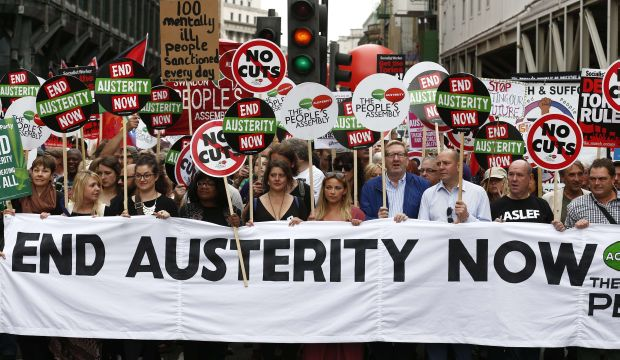 Thousands march in central London to protest austerity