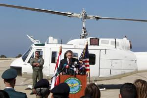 U.S. Charge d'Affaires and Interim Ambassador Richard H. Jones speaks during a ceremony reviewing three Huey II helicopters donated by the United States to the Lebanese armed forces, at the Beirut air base