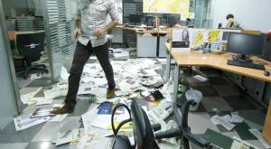 Asharq al-Awsat Beirut-based Office after being attacked, Friday, April 1, 2016.