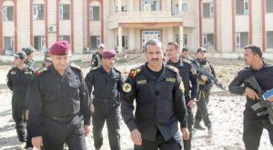 Iraqi soldiers patroling around the governmental building in Hit, Anbar after freeing it from ISIS militants
