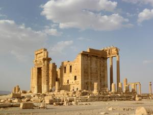 A general view shows the Temple of Bel in the historical city of Palmyra