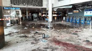Damage is seen inside the departure terminal following the March 22, 2016 bombing at Zaventem Airport.- Reuters.