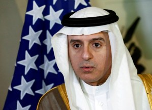 Saudi Foreign Minister Adel al-Jubeir talks to the media during a meeting on Syria with U.S. Secretary of State John Kerry in Geneva, Switzerland May 2, 2016. REUTERS/Denis Balibouse