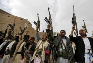 Armed Houthi followers demonstrate against Saudi-led air strikes in Yemen's capital Sanaa July 24, 2015. REUTERS/Khaled Abdullah