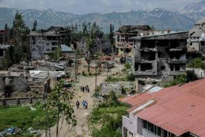 This file photo taken on May 30, 2016 shows a general view of damaged buildings following heavy fightings between government troops and Kurdish fighters after the curfew on May 30, 2016 in the majority Kurdish city town of Yuksekova, southeastern Turkey near the border with Iraq and Iran.