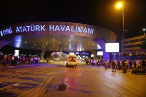 Ambulance cars arrive at Istanbul's Ataturk Airport in Turkey following the attacks. Reuters