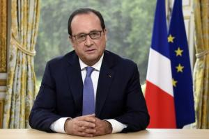 French President Francois Hollande speaks during the annual television interview at the Elysee Palace following the Bastille Day military parade in Paris, France, July 14, 2015. REUTERS/Alain Jocard/Pool