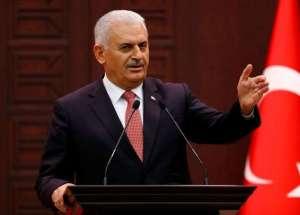 Turkish Prime Minister Binali Yildirim addresses the media in Ankara. Photo: Reuters