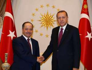 Turkey's President Tayyip Erdogan shakes hands with President of Iraqi Kurdistan Masoud Barzani (L) at the Presidential Palace in Ankara, Turkey, August 23, 2016. Kayhan Ozer/Presidential Palace/Handout via REUTERS ATTENTION EDITORS - THIS PICTURE WAS PROVIDED BY A THIRD PARTY. FOR EDITORIAL USE ONLY. NO RESALES. NO ARCHIVE.