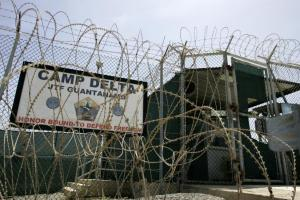 The front gate of Camp Delta is shown at the Guantanamo Bay Naval Station in Guantanamo Bay, Cuba September 4, 2007. REUTERS/Joe Skipper