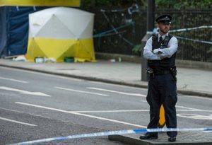 Police investigate the Russell Square stabbing crime scene