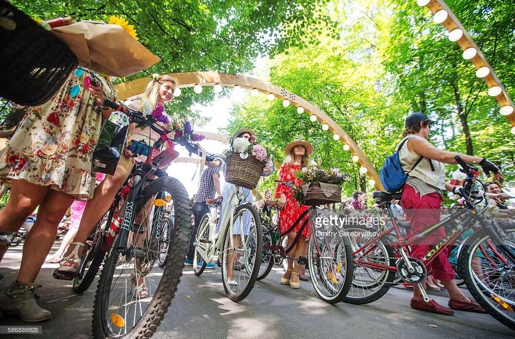 Russia Organizes 'Ladies on Bicycles' Parade