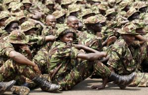 Members of the Kenya Defence Forces attend prayers as they pay their respects to the Kenyan soldiers serving in the African Union Mission in Somalia (AMISOM), who were killed in El Adde during an attack, at a memorial mass at the Moi Barracks in Eldoret, January 27, 2016. REUTERS/Thomas Mukoya