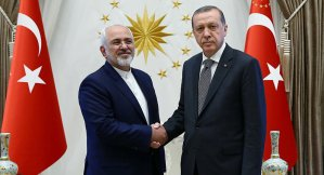 Turkey's President Recep Tayyip Erdogan shakes hands with Iranian Foreign Minister Mohammed Javad Zarif (L) as they meet at the Presidential Palace in Ankara, Turkey, August 12, 2016