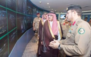 Crown Prince Muhammad Bin Naif, deputy premier and interior minister who is also the Head of the Supreme Haj Committee, visits the Command and Control Center for the security of pilgrims at the headquarters of the General Security in Mina on Tuesday evening. — SPA