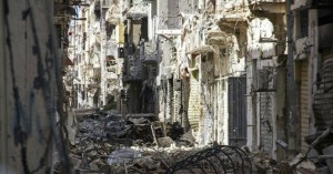 : Rubble from the offensive against ISIS in Libya.