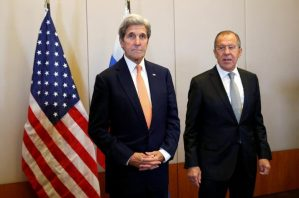 U.S. Secretary of State John Kerry (L) and Russian Foreign Minister Sergei Lavrov meet in Geneva, Switzerland, to discuss the crisis in Syria, September 9, 2016.
